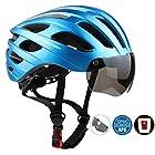 Kingleadサイクリングヘルメット、LEDライト付き大人用自転車ヘルメット、取り出す可能ゴーグル付きロードバイクヘルメット、通気性よいでおしゃれなデザイン