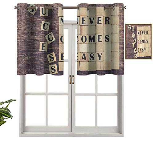 Hiiiman Grommet Top Blackout Curtain Valance Window Treatment Success Never Comes Easy Quote on Scribble Zen Lifestyle Saying Print, Set of 1, 42'x18' for Living Room, Short Straight Drape Valance