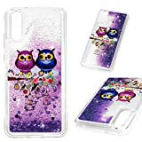 ToneSun Funda para Huawei P20, funda pintada con lentejuelas, purpurina líquida, cristal brillante, carcasa de arena transparente brillante con estrellas en jaula de pájaro