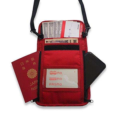 11Straps トラベルポーチ パスポートケース ネックホルダー 防犯 セキュリティー (赤)