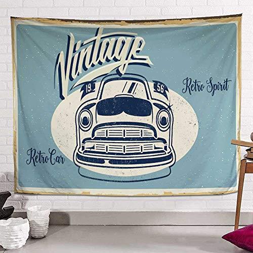 YANGYUAN Retro Tapiz de Coches, Estilo cómico de tapicería de la Pared for la decoración del Dormitorio, Tapiz Hombres Niño Niña (Size : 100×150cm)