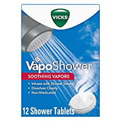Receive 12 Tablets Total (4 packs of 3) BREATHE EASY. Soothing, non-medicated vapors are activated by your warm shower to give you the ultimate, steamy shower experience with Vicks soothing vapors TURN YOUR SHOWER INTO A VAPO SAUNA. Steam + Vicks Vap...