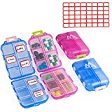2 Pack Pill Case Portable Small 7-Day Weekly Travel Pill Organizer Portable Pocket Pill Box Dispenser for Purse Vitamin Fish Oil Compartments Container Medicine Box by Muchengbao