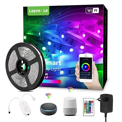 Lepro LED Strip 5M mit Musik, Alexa LED Streifen Lichterkette, Smart Band Lichter, Wifi RGB Dimmbar Lichtleiste Light, Lichtband Leiste Kompatibel mit Alexa, Google Home, nur 2.4GHz
