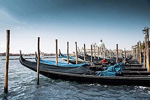 MX-XXUOUO Rompecabezas Góndola Barcos en Venecia Italia Rompecabezas clásico para Adultos, Grande de Madera, 500 Piezas