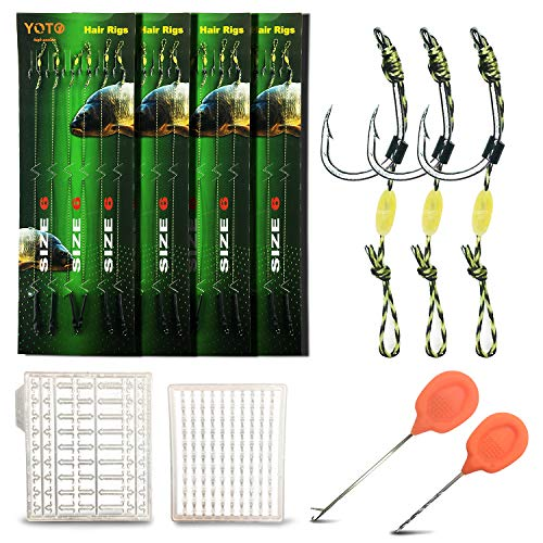 YOTO Carp Fishing Hair Rigs - 24Pcs High Carbon Steel Curved Barbed Carp Hook Swivel Boilies Fishing Rigs with Braided Thread Line Rolling Carp Fishing Accessories, Size #6