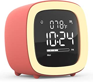 Kids Cute-TV Night Light Alarm Clock for Girls, Children, Bedroom, Rechargeable Battery Operated Alarm Clock with Sleep Timer, Indoor Thermometer, Snooze - Living Coral