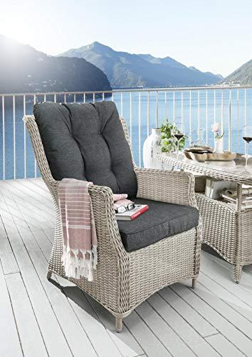 Destiny Gartensessel Loungesessel Casa Vintage Weiß Sessel Polyrattan Sofasessel