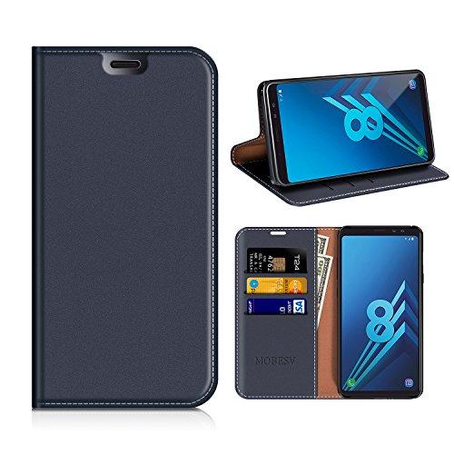 MOBESV Samsung Galaxy A8 2018 Hülle Leder, Samsung A8 2018 Tasche Lederhülle/Wallet Hülle/Ledertasche Handyhülle/Schutzhülle mit Kartenfach für Samsung A530 Galaxy A8 2018 - Dunkel Blau
