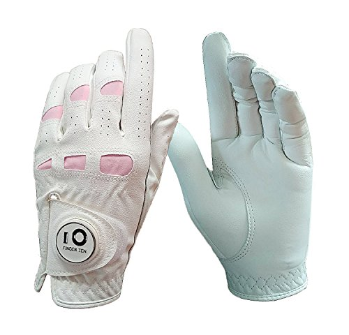 FINGER TEN Women's Leather Golf Glove with Ball Marker Extra Grip Value Pack, Left Right Hand Pink Fit Woman Girl, Size Small Medium Large XL