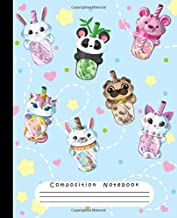 COMPOSITION NOTEBOOK: Cute Bubble Boba Tea Panda, Teddy Bear, Pug, Unicorn, Bunny, Cat, Llama Rule Lined Notebook for Girls, Pretty Paper Notebook for Writing Notes, School or College