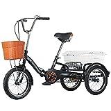 LICHUXIN Triciclo Adulto con Cesta 16' 3 Ruedas Sola Velocidad Bicicleta De Triciclo Plegable para Adultos Personas Mayores Compras Cruise Picnic Compras (Color : Black)