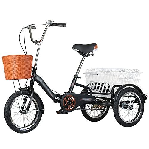 ZCXBHD Triciclo plegable para adultos de 40,64 cm con marco de acero al carbono plegable de una sola velocidad con cesta de la compra para ir de compras (color negro)