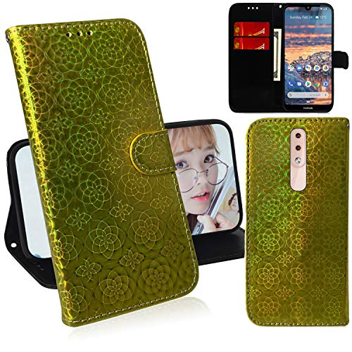 DodoBuy Glänzend Hülle für Nokia 4.2, Magnetische Flip Funkeln PU Leder Schutzhülle Handy Tasche Hülle Cover Brieftasche Wallet Stand Kartenfächer Trageschlaufe - Gold