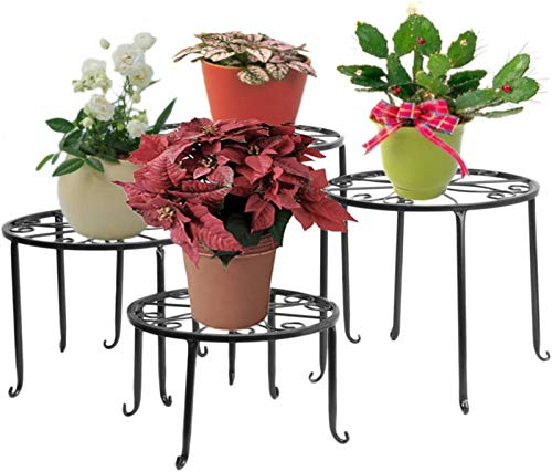 FullBerg Blumenständer Metall Schwarz Paletten Blumenregal Tisch Balkon Blumenbank Blumenleiter Dekoratives Pflanzentreppe für Innen Wohzimmer Indoor Outdoor Garten Deko