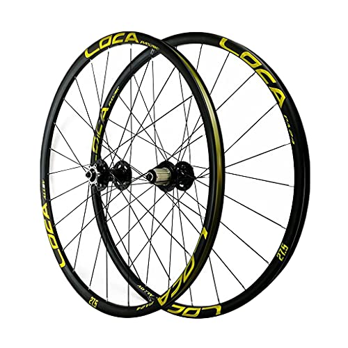LICHUXIN Bicycle Front and Rear Wheels 26/27.5/29 in Alloy Rim MTB Bike Wheelset 24H Disc Brake 7-12 Speed Quick Release for Bike Parts (Color : Gold-2, Size : 29in)