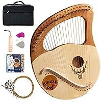 Lyre Harp、21文字列/ 24文字列Mahogany Wood Harp機器キャリングケース/チューニングキー/スペアストリング/英語の取扱説明書、初心者用音楽愛好家、最高の贈り物 (Color : Wood color)