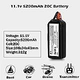 Lukame Mise à Niveau 11.1V 5200Mah 20C Batterie Li-Po pour Walkera Qr-X350 Pro Fpv Rc Drone Rc Modèles Pièces Batterie