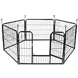 Display4top Welpenauslauf,Welpenlaufstall Freilaufgehege Hundelaufstall Tierlaufstall Hunde,mit Tür laufstall Für Hund, Katze, Welpe, Kaninchen,6 Paneelen, Schwarz (60 cm x 80 cm)