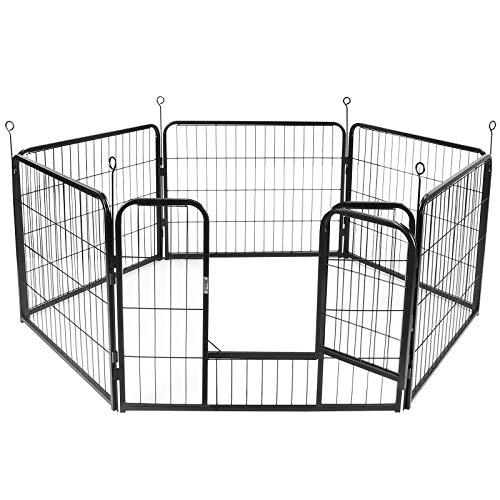 Display4top Giardino Rete Recinzione Ferro,Metallica Recinzione per Animali, Recinto per Cani per Cani Gatto Coniglio Interno e Esterno, 6 Pezzi, Nero (60cm X 80cm)