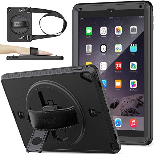 SEYMAC Stock iPad 6th/5th Generation Case, iPad Pro 9.7 Case, Shockproof Full Body Protective Case with Screen Protector Pencil Holder & 360° Rotating Stand/Hand Strap for iPad 9.7 Inch (Black)
