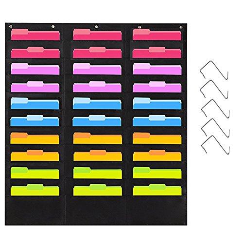 JOTOM Premium Storage Pocket Chart con 30 bolsillos Bonus 5 Hangers, Wall Hanging Carpeta de archivos Pocket Chart Organizador en cascada, perfecto para oficina, escuela o hogar (30 bolsillos)