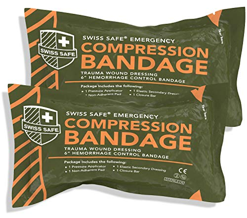 Swiss Safe Israeli Sterile Compression Bandage, for Emergency Wound Dressing, First Aid and Trauma Kit, 6 inch, 2 Pack
