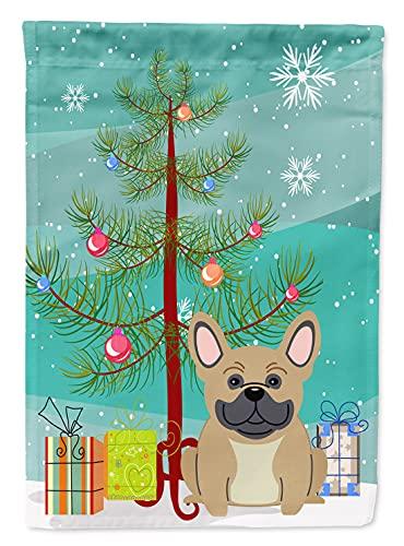 Caroline's Treasures BB4135GF Merry Christmas Tree French Bulldog Cream Flag Garden Size, Small, Multicolor