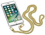 Yayago Cadena para teléfono móvil/collar dorado de metal con funda para iPhone 7 Plus/8 Plus – Funda para teléfono móvil con cadena para colgar – Collar de cuello – La moda y práctica atracción
