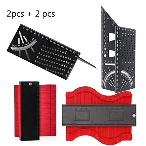 Kontur Duplikator, Jicyor 2pcs 5 '' Kunststoff Unregelmäßiges Rot Markierwerkzeuge Kontur Duplikator + 2pcs 45/90 Grad T-Typ 3D Gehrungswinkel Mitre für Unregelmäßiges Profil Fliesen Laminat Holz Usw