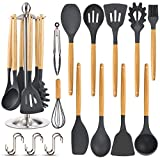 Silicone Kitchen Cooking Utensil Set, EAGMAK 15PCS Kitchen Utensils Spatula Set with Stainless Steel Stand for Nonstick Cookware, BPA Free Non-Toxic Cooking Utensils, Kitchen Tools Gift (Black Gray)