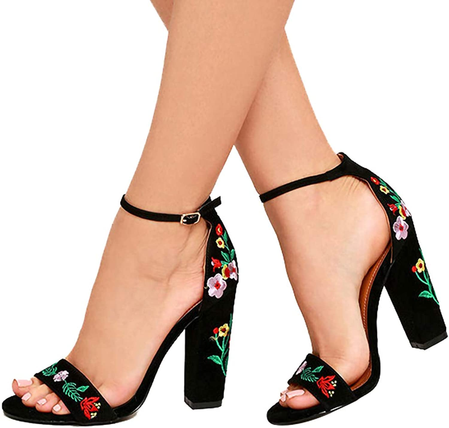 Flowers Embroidered shoes Women Sandals, Sexy Open Toe Gladiator High Heels Women shoes Black Size 35-40,Black,7US