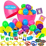 Evoio Plastic Easter Eggs Fillable Surprise Eggs with 30 Toys Kids Bulk Easter Eggs of 2.36 Inch Little Eggs and 10 Inch Jumbo Egg for Easter Eggs Hunt Easter Theme Party Toys for Boys and Girls