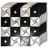 HomeyMosaic Peel and Stick Tile Backsplash for Kitchen Wall Decor Aluminum Surface Metal Mosaic Smart Tiles Sticker,Black&Silver Windmill Puzzle Glass Mixed(12'x12'x 5 Sheets)