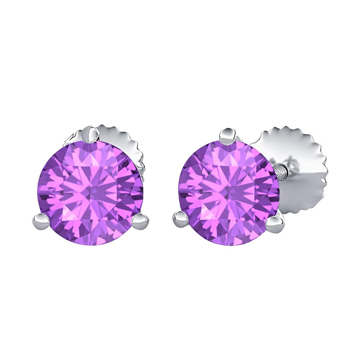 SVC-JEWELS Round Cut Created Gemstones (5MM) Solitaire Stud Earrings 14K White Gold Over .925 Sterling Silver For Women's