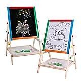 Pizarra Magnética Infantil Madera de los niños de Doble Cara Blanco y Negro Junta Tabla Base con el Dibujo del Reloj Doodle de Juguetes para niños (Color : Verde)