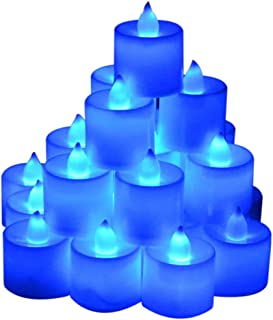 Samyo Set of 24 Battery Flameless & Smokeless LED Tealight Candles - Blue Candlelight