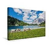 CALVENDO Premium Textil-Leinwand 45 x 30 cm Quer-Format Blick über den Seebensee zur Zugspitze, Leinwanddruck von Sascha Ferrari