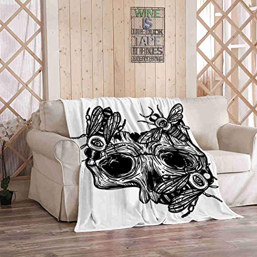 Kuidf Bird Throw Blanket Human Skull Bee Gothic Flannel Bedding Blankets Luxury Oversized for Couch Bed or Sofa 50x60 Inches