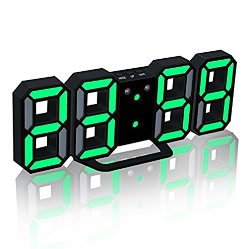 TRADE LED Electronic Wall Clock, Digital 3D LED Table Alarm Clock 24/12 Hour Display Plastic Alarm Clock Snooze Clock Brightness Automatically Adjust (Black, Green)