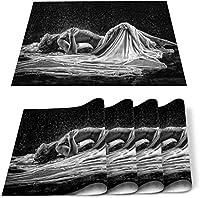プレースマットセット4ダイニングキッチンテーブルマット断熱滑り止め洗えるセクシーな女性黒と白のアートポートレートディナープレースマットセット