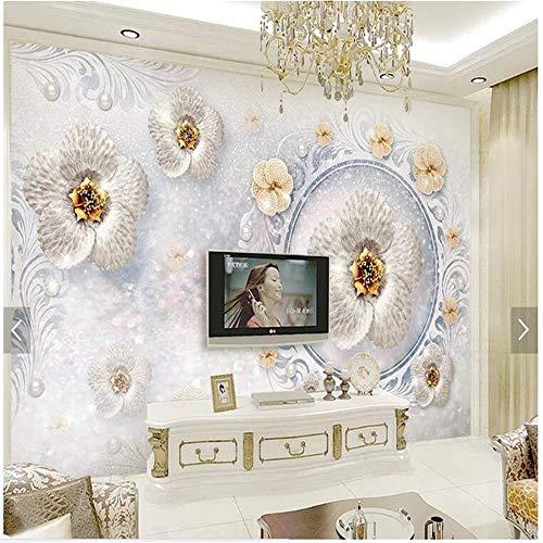 Sucsaistat Papier Peint Mural Motif Européen 3D Bijoux Fleur Murale Bar Salon Chambre TV Fond Décoration De La Maison Murale, 200 * 140Cm