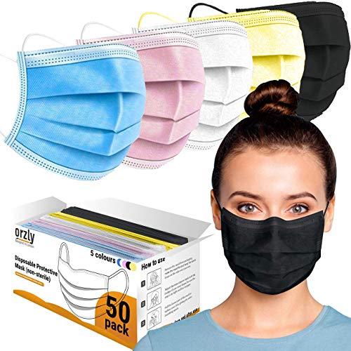 Orzly Einweg-Gesichtsmasken Packung mit 50 3-lagige atmungsaktive Mundbedeckung - Colourpop Edition