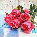 LRQY 1 Bouquet 10 têtes Rose Fleurs artificielles Real Touch Plante Florale, Mariage Fête DIY Décor de Bureau à Domicile,DarkPink