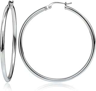 Sterling Silver 2mm High Polished Click Top Hoop Earrings in Sizes 40mm, 45mm or 50mm | Sterling Silver, Yellow & Rose Gold Flash Plated