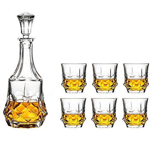 Decantadores Cubertería, Vajilla y Cristalería/Cristalería Botella de Vidrio de Cristal Creativo Vino Set Whisky Vino Tinto Botella Vino Creativo, 1 Botella + 6 Set de Copas de Vino