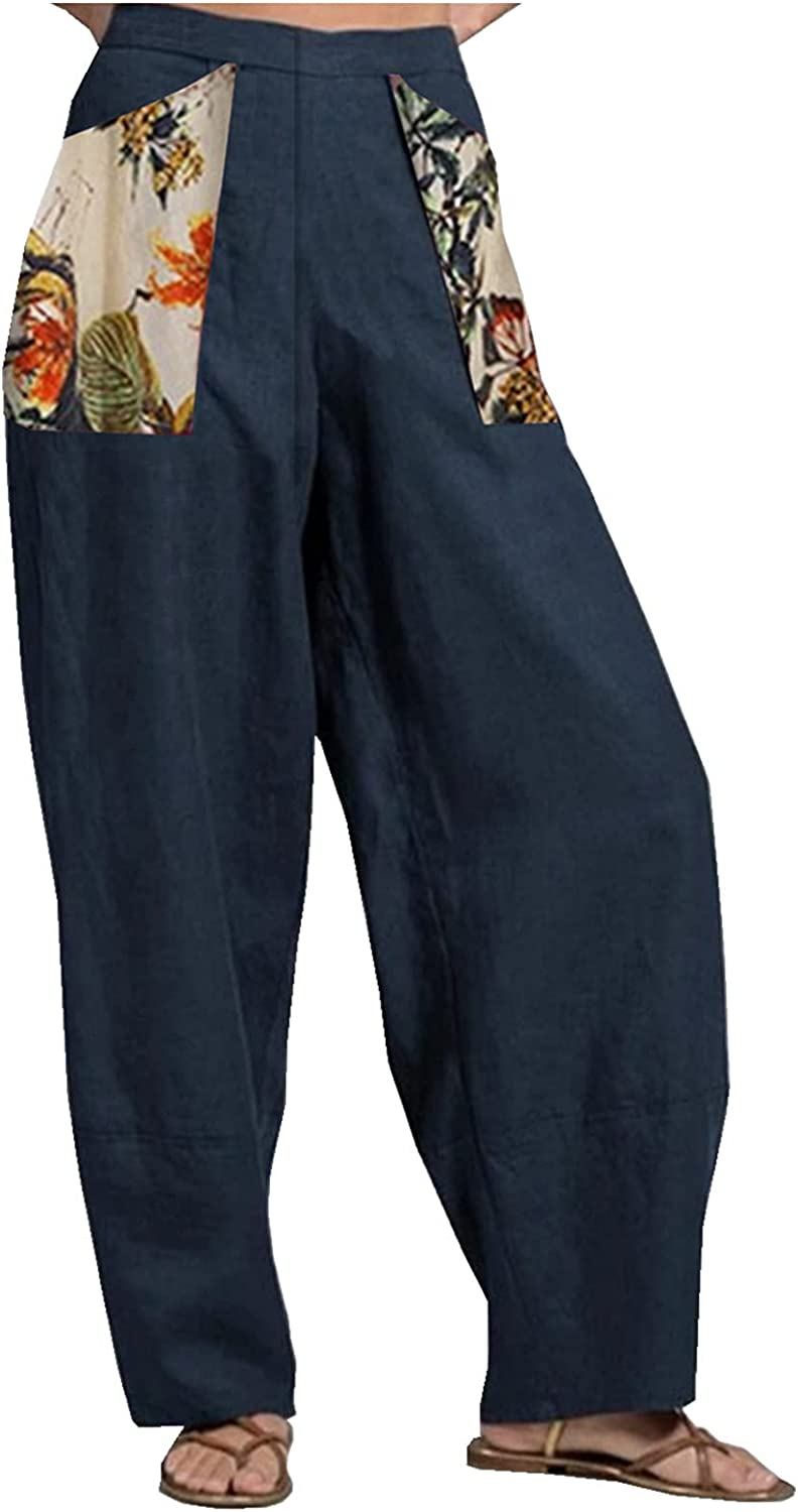 Women'S Patchwork Cotton And Linen Printed Wide Leg Pants Loose Pants Autumn Long Pants With Pockets