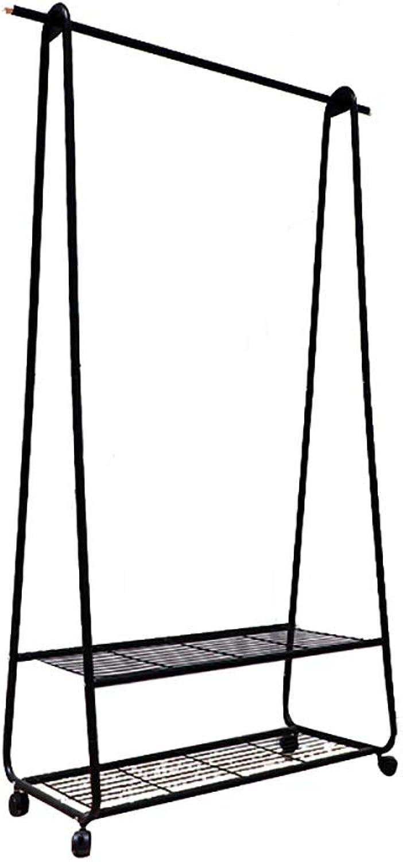 Jia Jia- Metal Wrought Iron Coat Rack Simple Household Hanger Floor-Standing Wheeled Coat Rack (40.55  17.32  68.11 Inches) Modern Coat Rack (color   B)