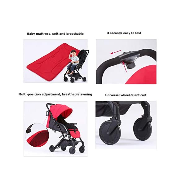 JXCC Double Strollers Baby Pram Tandem Buggy Newborn Pushchair with Adjustable Backrest- Black/Red -Safe And Stylish A JXCC 1. {Multi-angle adjustable}: You can sit down and adjust the angle from 0 to 175 degrees for all occasions. 2. {Light capsule car, detachable and separate}: Only 5.9kg, diamond car, can be on the plane, comfort zone baby, can be a single cart or can be combined into two cars 3. {Two-way implementation}: - Two-way implementation, switching parent-child mode 6