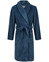John Christian Men's Blue Herringbone Fleece Robe (XXL)